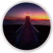 Marshall Point Light  Round Beach Towel