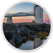 Marshall Point Reflection At Sunrise Round Beach Towel