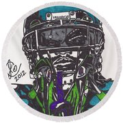 Marshawn Lynch 1 Round Beach Towel by Jeremiah Colley