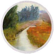 Marshes Of New England Round Beach Towel