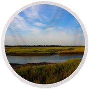 Marshland Charleston South Carolina Round Beach Towel