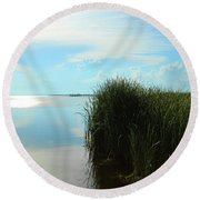 Marshland Round Beach Towel by David Stasiak