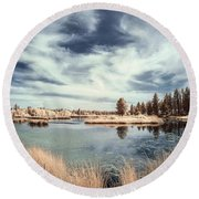 Marshlands In Washington Round Beach Towel