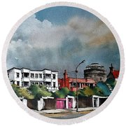 Martello Tower Bray Wicklow Round Beach Towel by Val Byrne