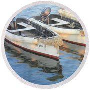 Round Beach Towel featuring the photograph Martha's Vinyard Skiffs by Roupen  Baker