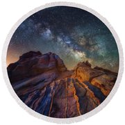 Round Beach Towel featuring the photograph Martian Landscape by Darren White