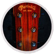 Martin And Co. Headstock Round Beach Towel