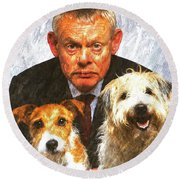 Martin Clunes As Doc Martin With Dogs Oil Painting Round Beach Towel