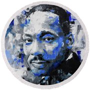 Round Beach Towel featuring the painting Martin Luther King Jr by Richard Day