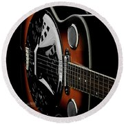 Martinez Guitar 01 Round Beach Towel by Kevin Chippindall