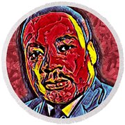 Martin Luther King Jr. Portrait Round Beach Towel