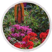 Mary Among The Roses Round Beach Towel by David Cote