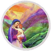 Mary And Baby Jesus Gift Of Love Round Beach Towel