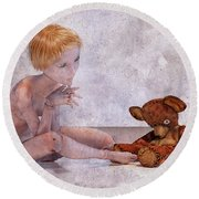 Mary Jane And Bedtime Bear 101c Betsy Knapp Round Beach Towel