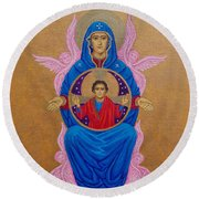 Mary Mother Of Mercy Icon - Jubilee Year Of Mercy Round Beach Towel by Michele Myers