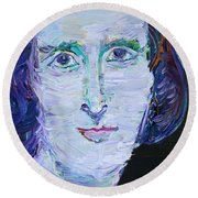 Round Beach Towel featuring the painting Mary Shelley - Oil Portrait by Fabrizio Cassetta