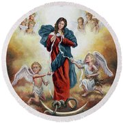 Mary Untier Of Knots Round Beach Towel