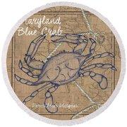 Maryland Blue Crab Round Beach Towel