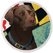 Maryland Chocolate Lab Round Beach Towel