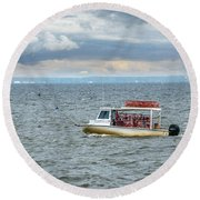 Maryland Crab Boat Fishing On The Chesapeake Bay Round Beach Towel