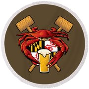 Maryland Crab Feast Crest Round Beach Towel