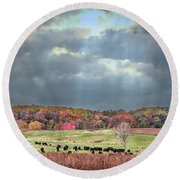 Maryland Farm With Autumn Colors And Approaching Storm Round Beach Towel