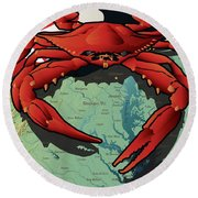 Maryland Red Crab Round Beach Towel