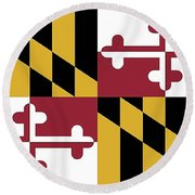 Round Beach Towel featuring the photograph Maryland State Flag by Robert Banach