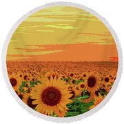 Maryland Sunflowers Round Beach Towel