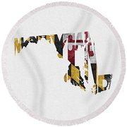 Maryland Typographic Map Flag Round Beach Towel