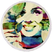 Marilyn And Her Drink Round Beach Towel by Mihaela Pater