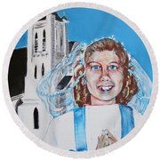 Mary's First Communion Round Beach Towel