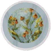 Round Beach Towel featuring the painting Mary's Garden by Mary Wolf