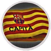 Round Beach Towel featuring the photograph Mas Que Un Capitan - Carles Puyol by Juergen Weiss