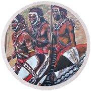 Blaa Kattproduksjoner       Masaai Warriors Round Beach Towel
