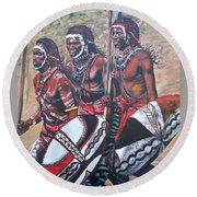 Blue Cat Productions        Masaai Warriors Round Beach Towel