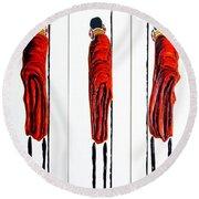 Masai Warrior Triptych - Original Artwork Round Beach Towel