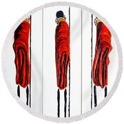 Masai Warrior Triptych - Original Artwork Round Beach Towel