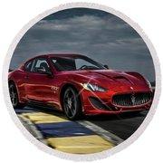 Maserati Gran Turismo G T Sport Round Beach Towel by Movie Poster Prints