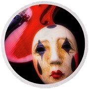 Mask And Violin Round Beach Towel