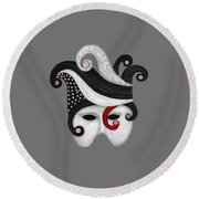 Round Beach Towel featuring the painting Mask In Black And White With Red by Nareeta Martin