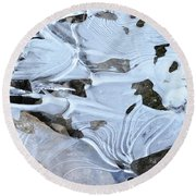 Round Beach Towel featuring the photograph Ice Mask Abstract by Glenn Gordon