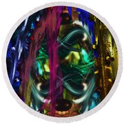 Mask Of The Spirit Guide Round Beach Towel