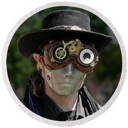 Masked Man - Steampunk Round Beach Towel by Betty Denise