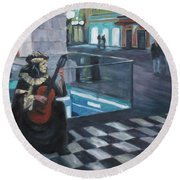 Masked Musician Round Beach Towel by Connie Schaertl