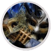 Round Beach Towel featuring the photograph Masked Twins by Amanda Eberly-Kudamik