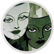 Masks Verde Round Beach Towel