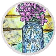 Mason Jar Bouquet Round Beach Towel