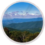 Round Beach Towel featuring the photograph Massanutten by Penny Lisowski