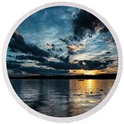Masscupic Lake Sunset Round Beach Towel